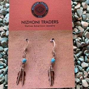 Navajo & Turquoise Sterling Silver Feather Dangles